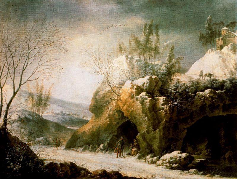 Francesco-Foschi-Paisaje-invernal-en-los-Apeninos-con-una-cueva-leo-sobre-lienzo-48-x-62-cm-Museo-Th