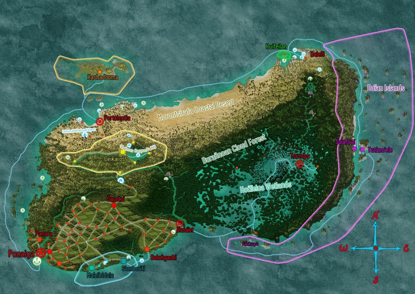 Map of Bunkaiia and its autonomous regions, including the Doyan Islands