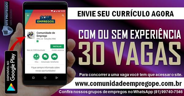OPERADOR DE MÁQUINA, 30 VAGAS COM OU SEM EXPERIÊNCIA