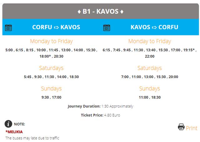 B1 Corfu to Kavos