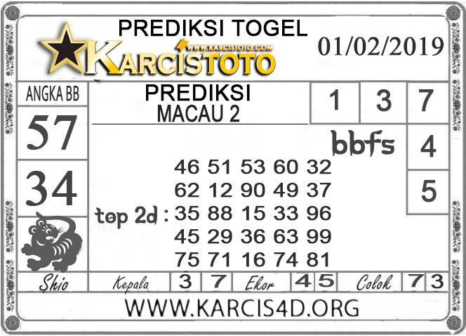 Prediksi Togel MACAU 2 KARCISTOTO 01 FEBRUARI 2019