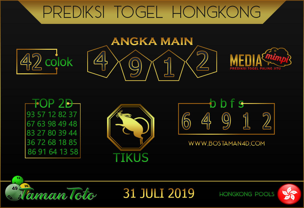 Prediksi Togel HONGKONG TAMAN TOTO 31 JULI 2019