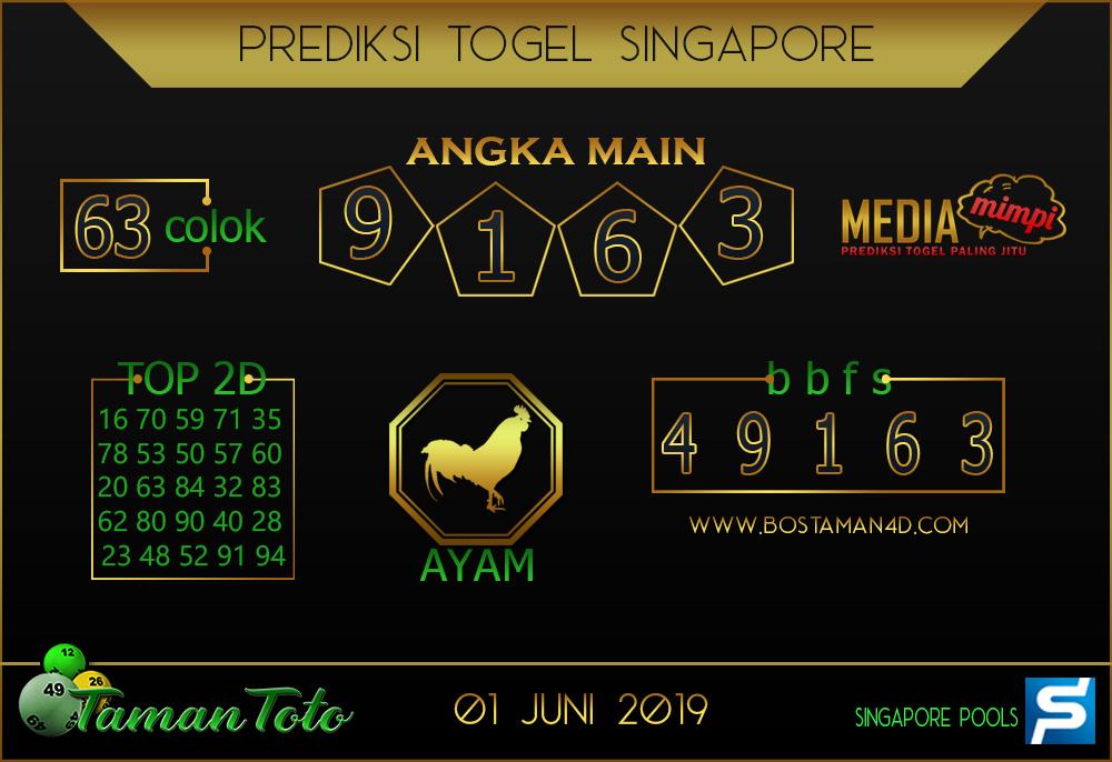 Prediksi Togel SINGAPORE TAMAN TOTO 01 JUNI 2019