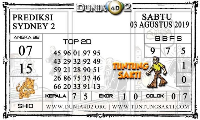 "Prediksi Togel ""SYDNEY 2"" DUNIA4D2 03 AGUSTUS 2019"