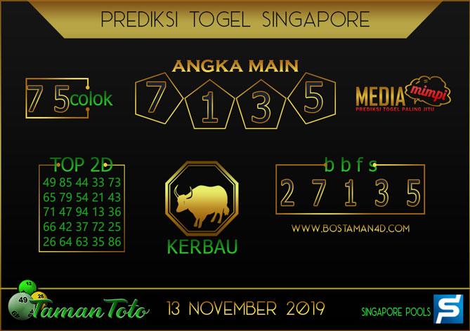 Prediksi Togel SINGAPORE TAMAN TOTO 13 NOVEMBER 2019