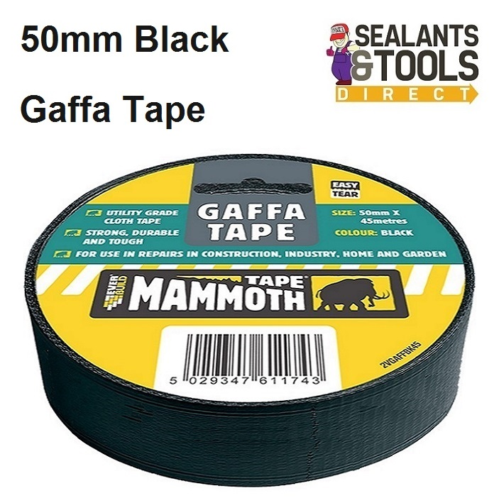 Everbuild Mammoth Gaffa Tape Black 50mm 2VGAFFBK45