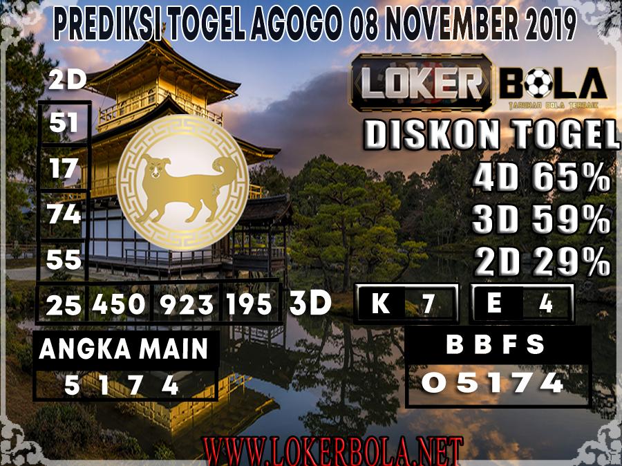 PREDIKSI TOGEL AGOGO LOKERBOLA 08 NOVEMBER 2019