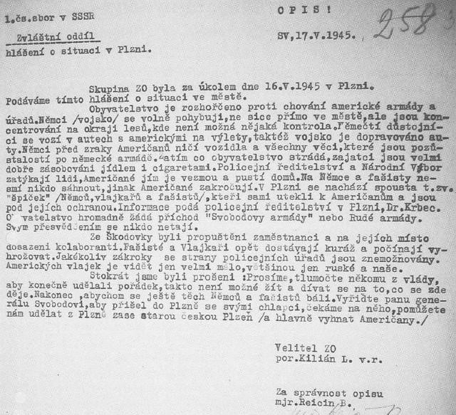 zprava-Plzen-kve-ten-1945