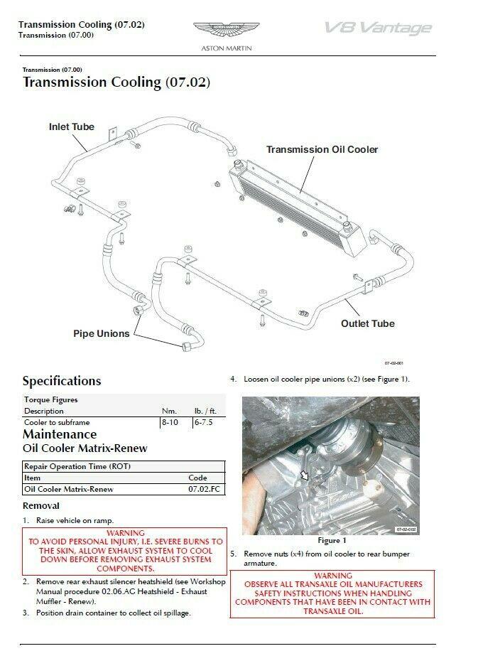 Workshop Repair Manual For Aston Martin V8 Vantage 2005