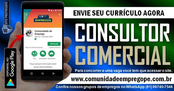 CONSULTOR COMERCIAL COM SALÁRIO DE R$ 1800,00 PARA EMPRESA DE PRODUTOS COMERCIAIS