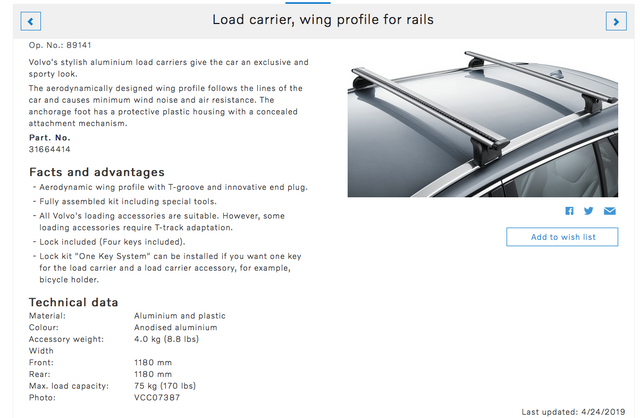Volvo V60 Cross Country Load Bars, Wing Profile, $120