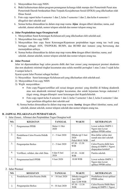 Jadwal dan Syarat Cara Pendaftaran PPDB SMP Kab Ngawi 2020 ...