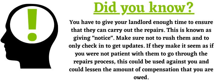 Landlord Notice for Housing Disrepair Claim