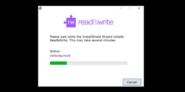 Read&Write InstallShield Wizard showing status of install