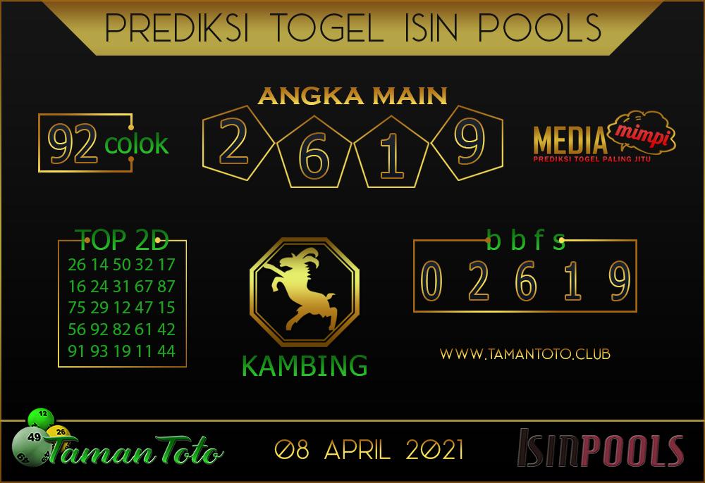 Prediksi Togel ISIN TAMAN TOTO 08 APRIL 2021