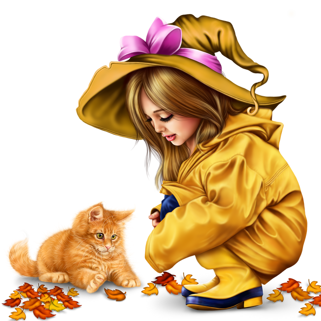 little girl in raincoat with a kitty png 3b6a859da5ed4f009.png