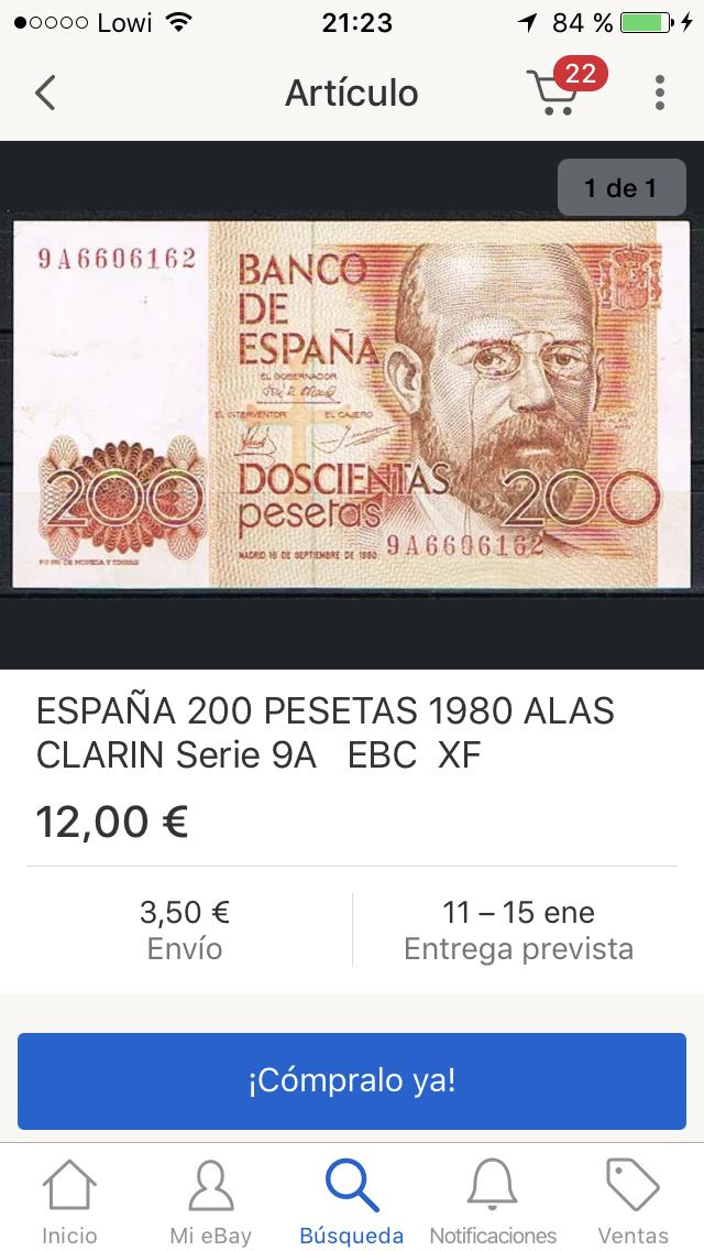 Número más bajo/alto de... 200 pesetas 1980 Serie 8 y 9 9-A6606162-A