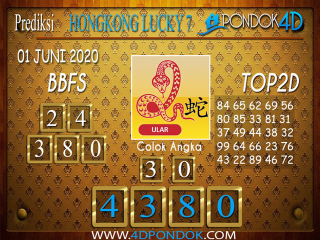 Prediksi Togel HONGKONG LUCKY 7 PONDOK4D 01 JUNI  2020