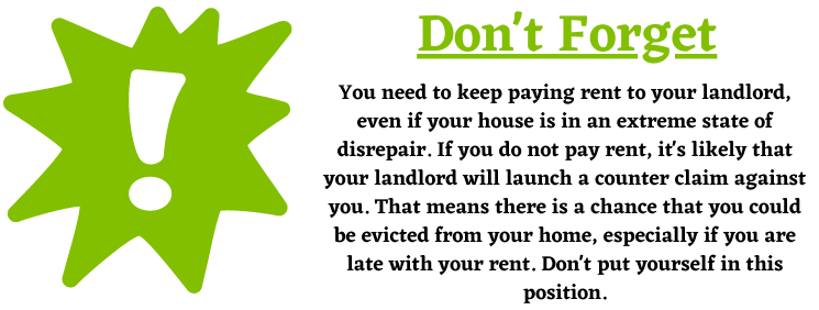 paying rent and housing disrepair claims