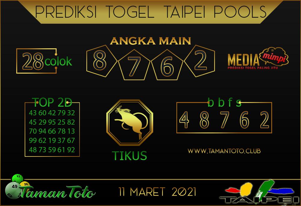 Prediksi Togel TAIPEI TAMAN TOTO 11 MARET 2021