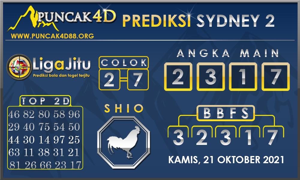 PREDIKSI TOGEL SYDNEY2 PUNCAK4D 21 OKTOBER 2021