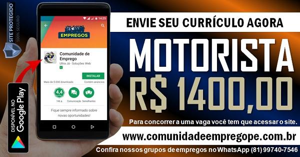 MOTORISTA COM SALÁRIO DE R$ 1400,00 PARA EMPRESA DE EMBALAGENS
