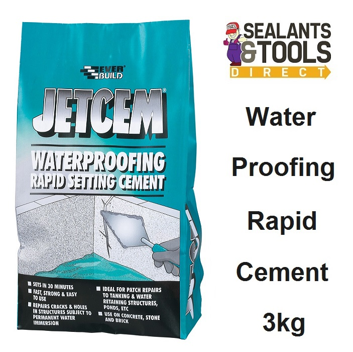 Everbuild Jetcem Waterproof Rapid Setting Cement 3kg JETWAT3