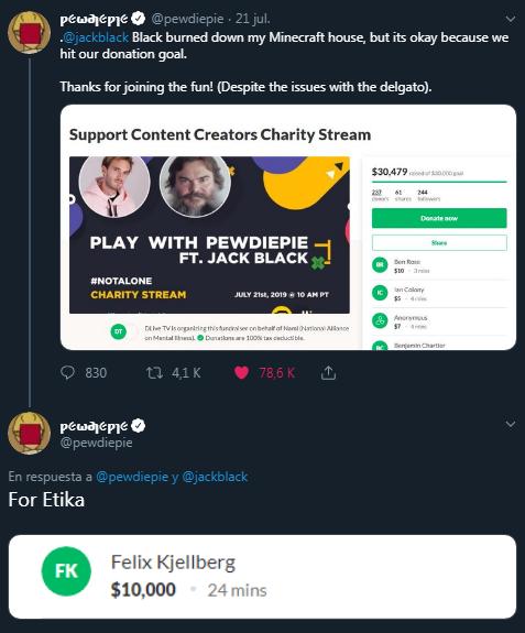 2 - PewDiePie realiza una generosa donación de 8.000 euros en honor a Etika