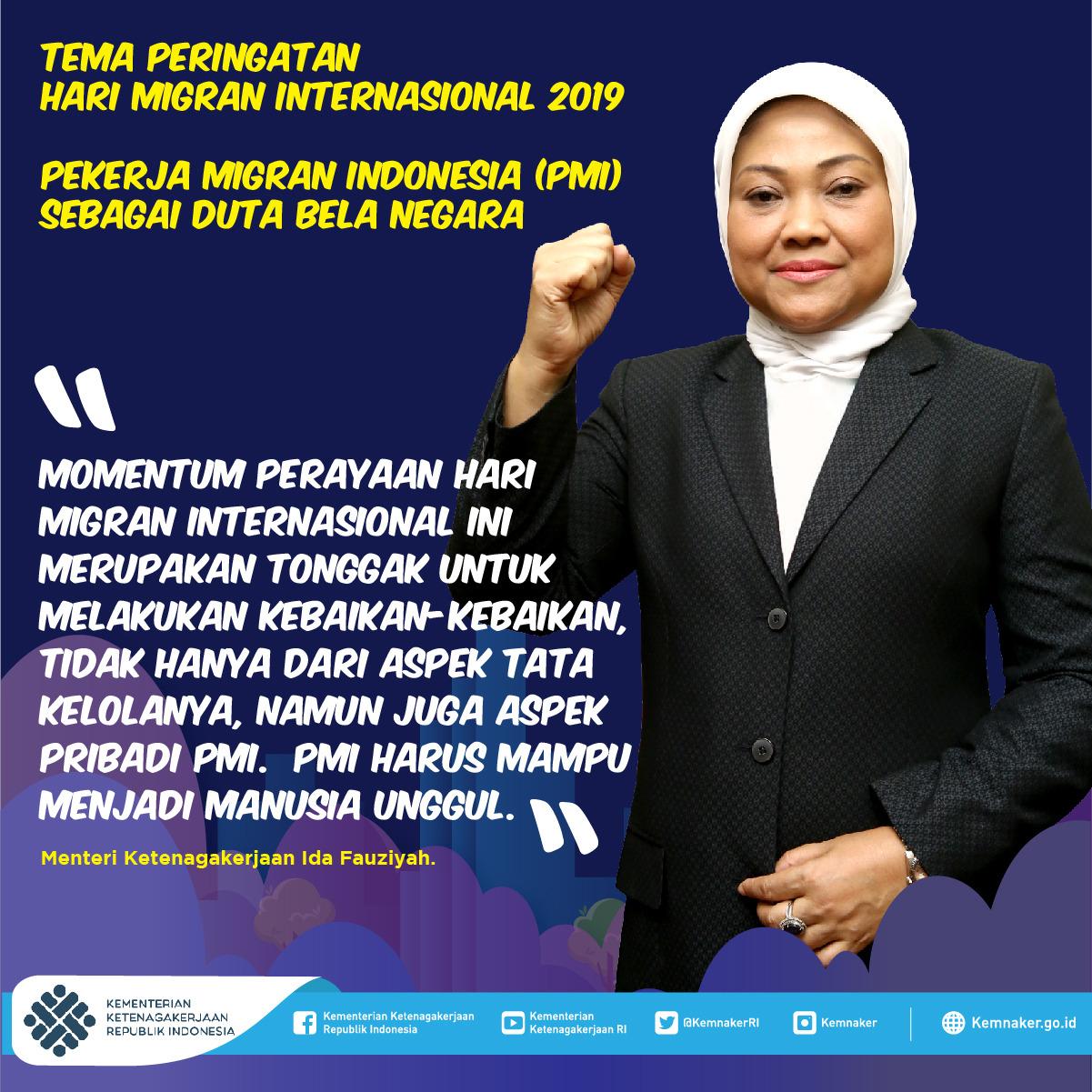 Bisakah para Pekerja Migran Indonesia (PMI) menjadi Duta Bela Negara?  Tentu saja bisa! Karena mereka bekerja di negeri orang dan mereka menjadi jendela bagi dunia luar untuk mengenal Indonesia.   Minaker yakin kalian mampu. Karena kalian adalah PMI yang luar biasa. #PMISukses