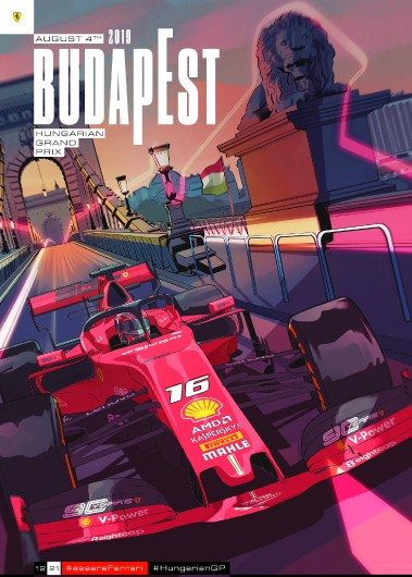 12 HUNGARY 2019 FERRARI COVER ART POSTER