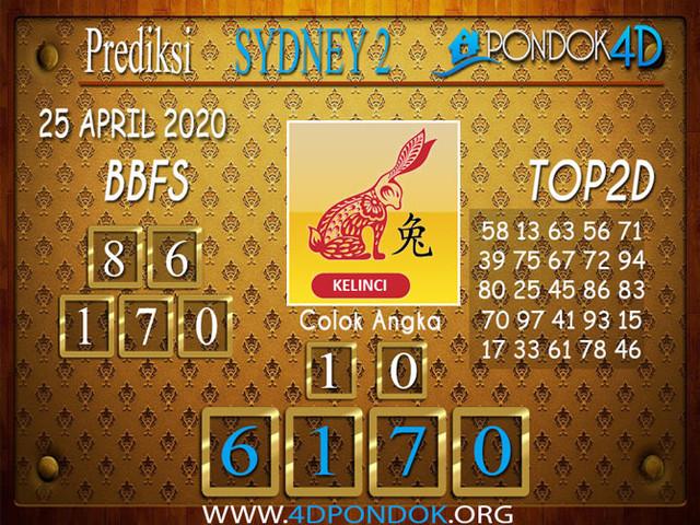 Prediksi Togel SYDNEY 2 PONDOK4D 25 APRIL 2020