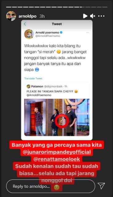 Unggahan Chef Arnold soal kemunculan tangan misterius di galeri MasterChef Indonesia