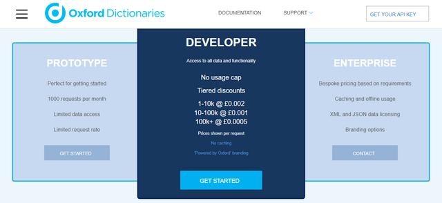 Oxford Dictionary API plans
