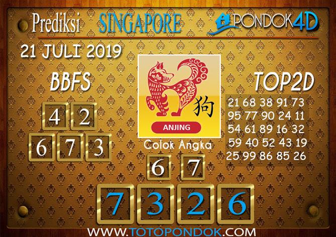 Prediksi Togel SINGAPORE PONDOK4D 21 JULI 2019