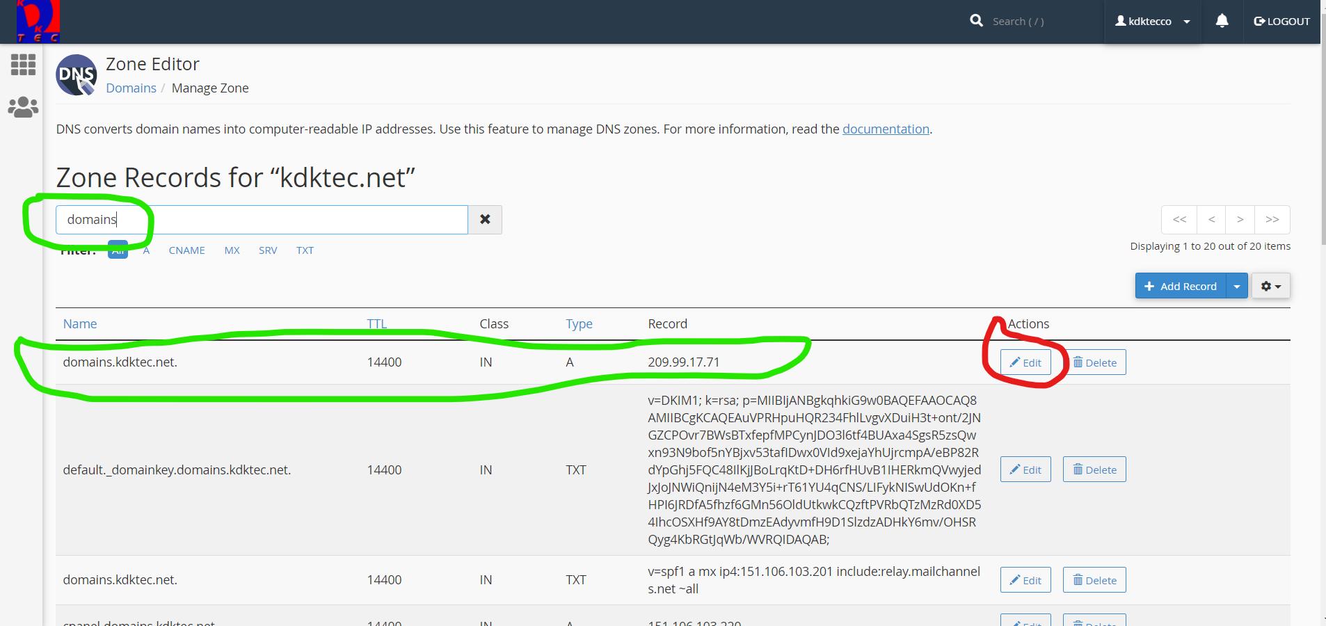 Screenshot of cPanel DNS Zone Editor Subdomain search