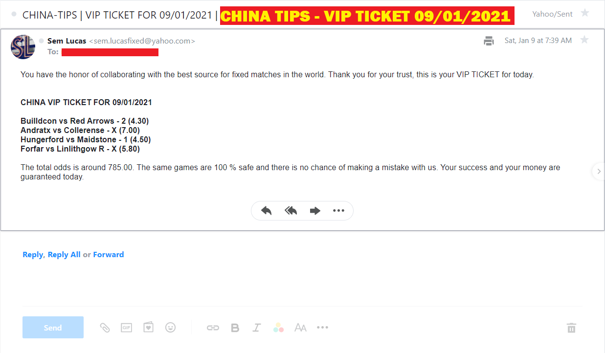 CHINA VIP TICKET | FIXED MATCHES