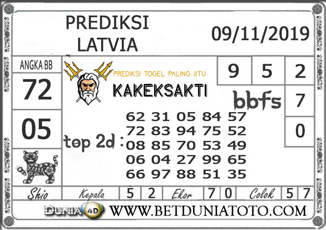 "Prediksi Togel ""LATVIA"" DUNIA4D 09 NOVEMBER 2019"