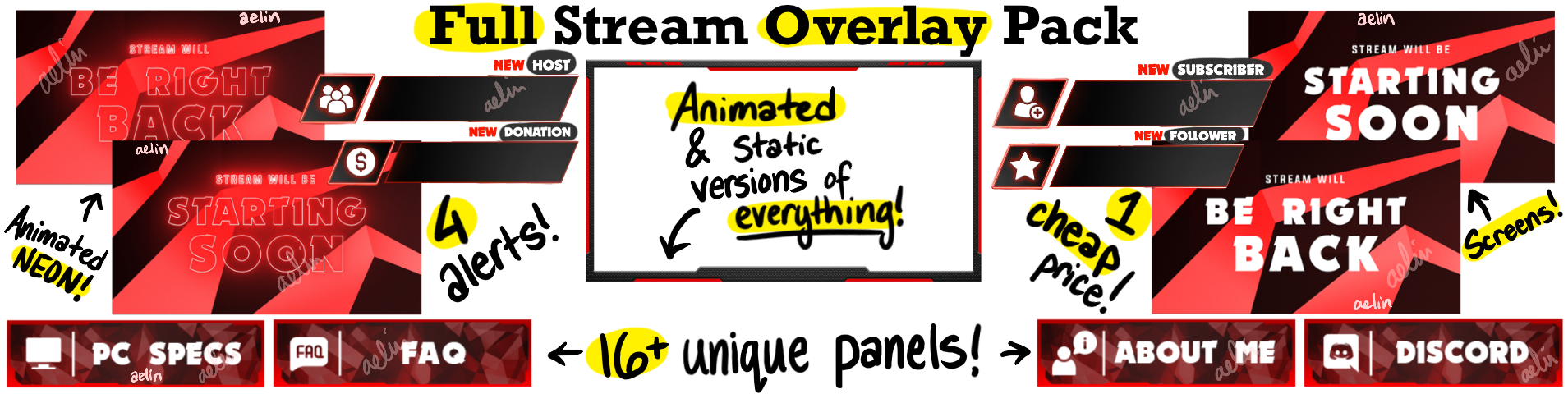 Twitch streamer overlay pack