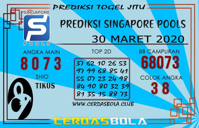 Prediksi Togel SINGAPORE CERDASBOLA 30 MARET 2020