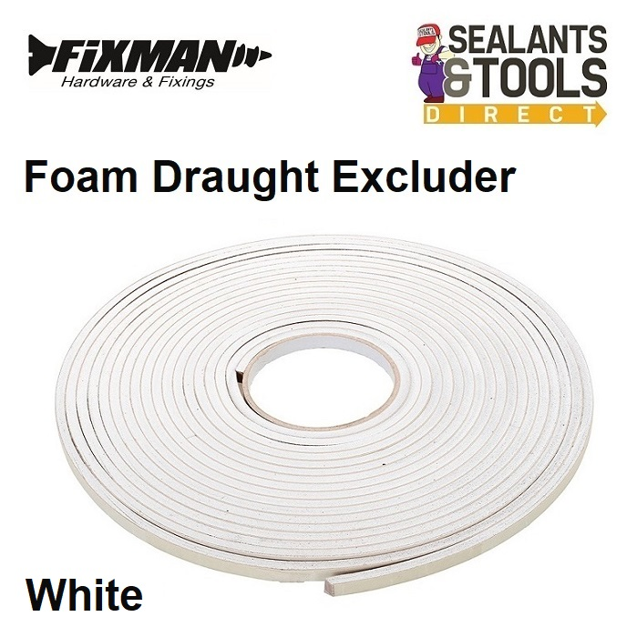 Fixman UK Foam Draught Excluder White Self Adhesive 792439