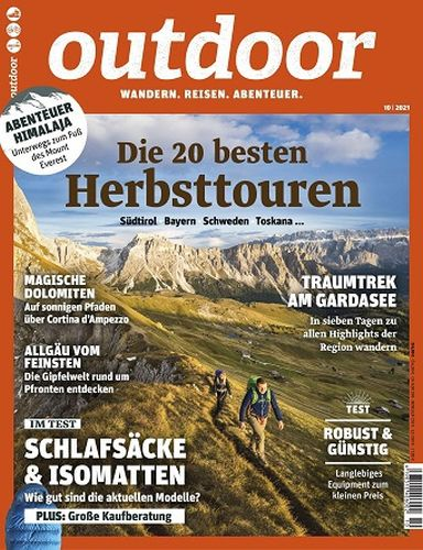 Cover: Outdoor Magazin Reisen Wandern Abenteuer No 10 Oktober 2021
