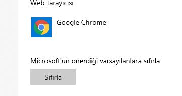 Microsoft'un önerdiği varsayılanlara sıfırla