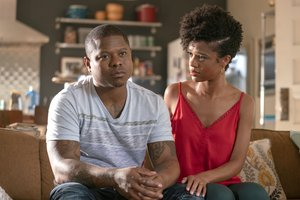 Brandon (Jason Mitchell) discusses with Jerrika (Tiffany Boone)