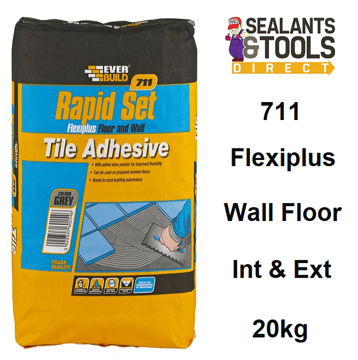 Everbuild 711 Rapid Set FlexiPlus Tile Mortar Adhesive 20Kg RSPLUS