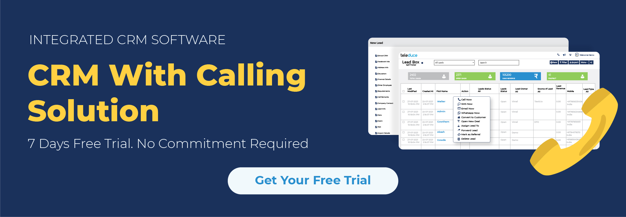 CRM with Calling Solution