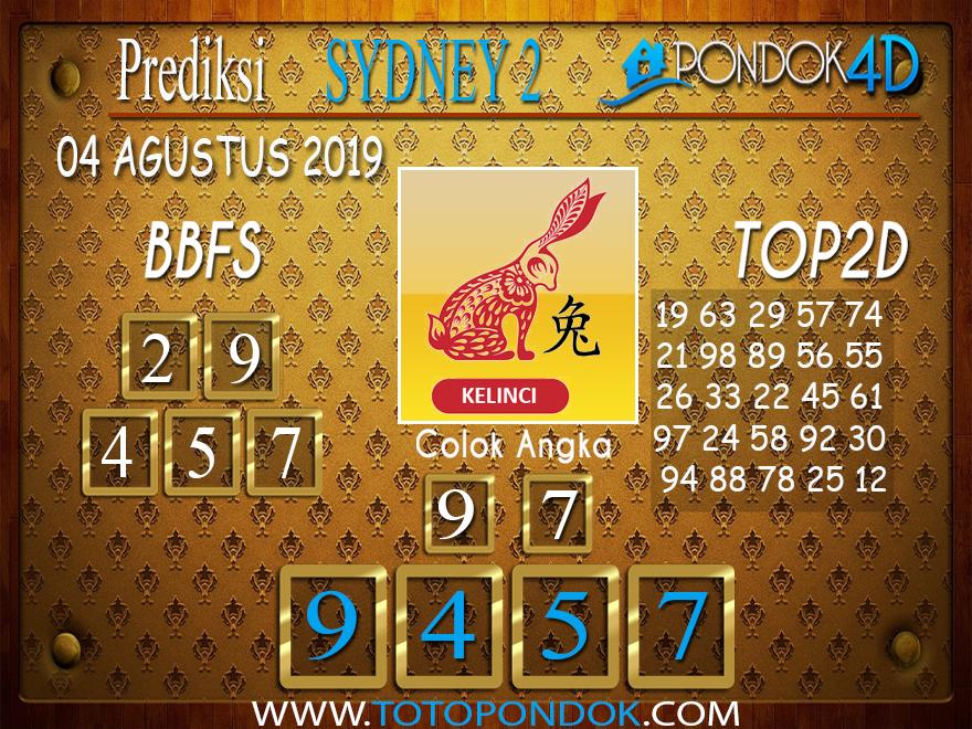Prediksi Togel SYDNEY 2 PONDOK4D 04 AGUSTUS 2019