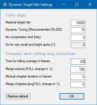 Dynamic-Target-Nits-Settings