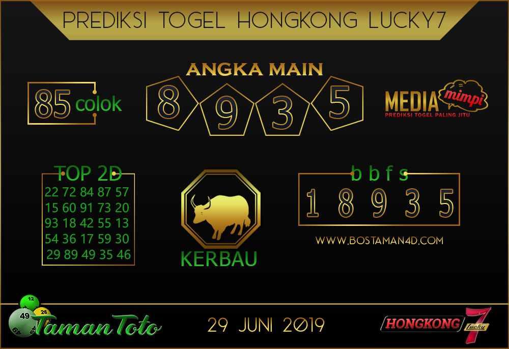 Prediksi Togel HONGKONG LUCKY 7 TAMAN TOTO 29 JUNI 2019