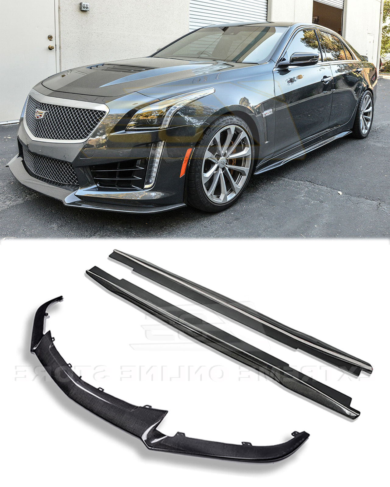2016 Cadillac Cts V Ditches Manual Gearbox Multiple: CARBON FIBER Front Lip Splitter & Side Skirts Panel For 16