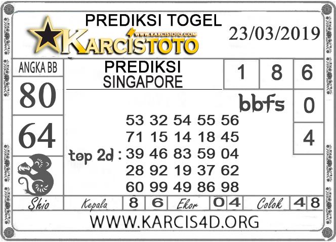 Prediksi Togel SINGAPORE KARCISTOTO 23 MARET 2019